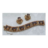 D&E Juliana Rootbeer, Amber, and Topaz Rhinestone Demi Flat Bracelet Earrings