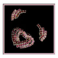 Red and Pink Rhinestone Heart Demi Brooch and Earrings