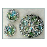 """Book Piece"" Weiss Shades of Blue and Green Rhinestone Demi Brooch Earrings"