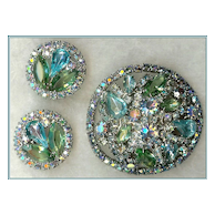 """""""Book Piece"""" Weiss Shades of Blue and Green Rhinestone Demi Brooch Earrings"""
