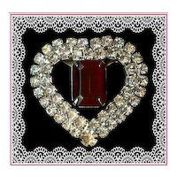 Dazzling Ruby Red and Clear Rhinestone Heart Pin