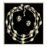 Vendôme Faux Pearl, Sugar Bead, and AB Crystals Demi Necklace Earrings