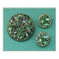 """Book Piece"" Weiss Shades of Green Rhinestone Demi Brooch Earrings"