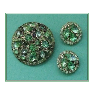"""Book Piece"" Weiss Shades of Green Rhinestone Demi Brooch Earrings"