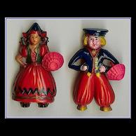 """Book Piece"" Pair of Celluloid Little Dutch Boy and Girl Pins"