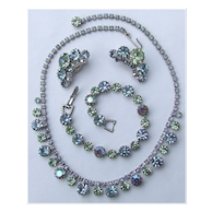 Weiss Peridot Green, Baby Blue and AB Rhinestone Parure Necklace, Bracelet, Earrings