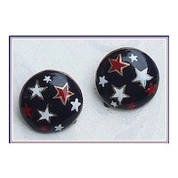 Patriotic Red, White, Blue Star Earrings