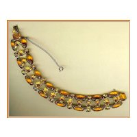 Amber Satin Glass and Orange Rhinestone Bracelet