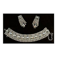 Weiss Clear Emerald Cut and Brilliant Rhinestone Demi Bracelet and Dangle Earrings