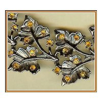 Autumn Orange Rhinestone and Blackened Silvertone Leaf Bracelet