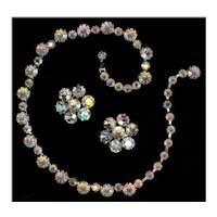 Weiss Crystal Aurora Borealis Rhinestone Demi Necklace Earrings