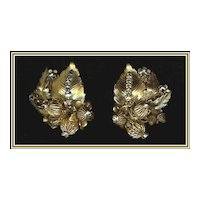 Signed Eugene Gilt and Sparkling Clear Rhinestone Rose Montee Earrings