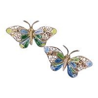 Vintage 800 Silver Butterfly  Scatter Pins Enamel & Filigree