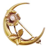 Art Nouveau Brooch Crescent Moon With Flower & Seed Pearl