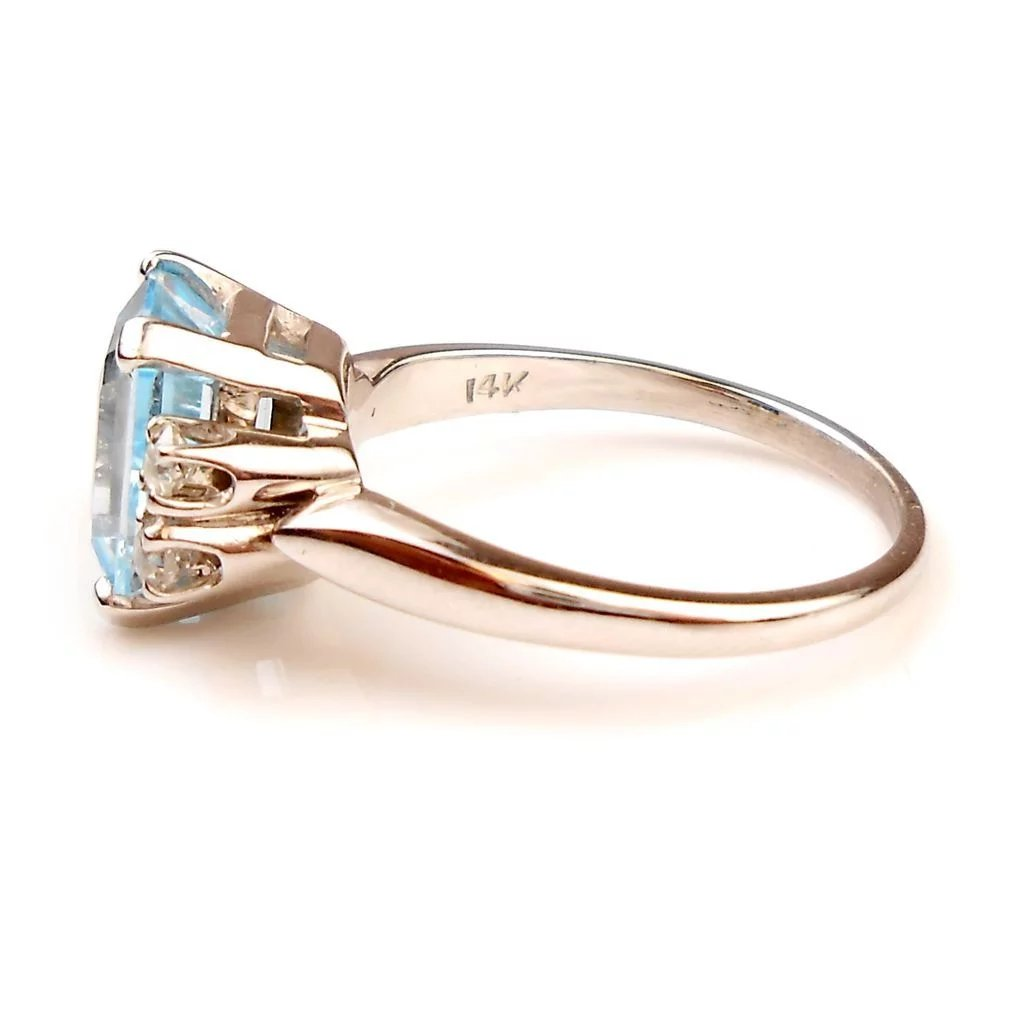 Vintage Emerald Cut Blue Topaz Ring With Diamond Accent