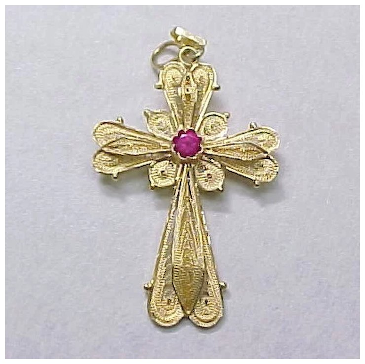 Misoyianis filigree cross pendant 18k gold ruby red spinel accent misoyianis filigree cross pendant 18k gold ruby red spinel accent aloadofball Image collections