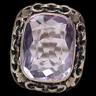 Edwardian Amethyst Ring With Chain Link Border Leaf Accent 9k Gold