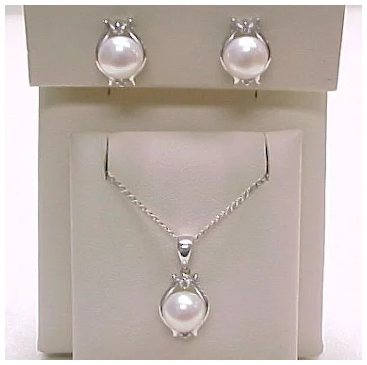 Cultured Pearl Diamond Earrings Necklace Set 14k White Gold