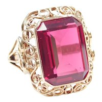Victorian Revival Hand Crafted 12 Carat Ruby Ring POLAND 14k Gold