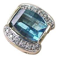 Blue Topaz & Diamond Slide 14k Gold For Add A Slide Bracelet circa 1980's