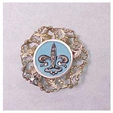 Nouveau Fleur De Lis Pin Seed Pearl & Blue Enamel 10k Gold