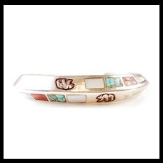 Vintage Sterling Silver Cuff Inlaid Turquoise Coral Mother of Pearl Bear Stamp