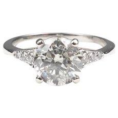 Elegant 2.13 Carats Round Brilliant Platinum Diamond Engagement Ring
