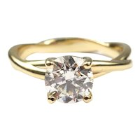 GIA Certified 1.03 carat Round Brilliant Diamond Solitaire Engagement Ring 14k Yellow Gold 143