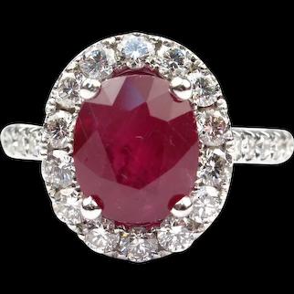 Glamorous 4.52 carats Natural Ruby and Diamond Halo Ring 14k White Gold