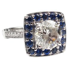 Vintage Inspired 3.56 carats Diamond and Sapphire Halo White Gold Engagement Ring 143