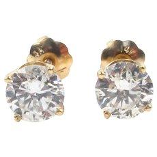 Diamond 1.07 ctw Round Brilliant Stud Earrings 14k Yellow Gold