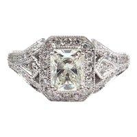 GIA Certified .92 Carat (1.32 ctw) Radiant Diamond Engagement Ring 14k White Gold 143