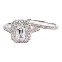 GIA Certified .95 carat (1.71 ctw) Emerald Diamond Engagement Wedding Set 14k White Gold 143