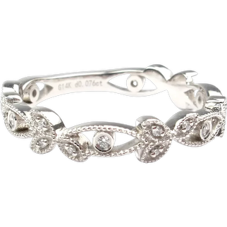 Edwardian Inspired .07 ctw Diamond Floral & Milgrain Wedding Band 14k White Gold Stack