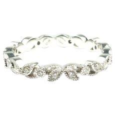 Edwardian Inspired .13 ctw Diamond Floral & Milgrain Eternity Wedding Band 14k White Gold Stack