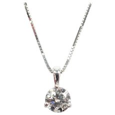 Diamond .70 Carat Solitaire Necklace 14k White Gold