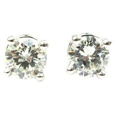 Diamond .84 ctw Round Brilliant Stud Earrings 14k White Gold