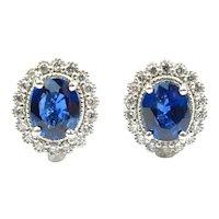 Sapphire & Diamond 1.50 ctw Halo Stud Earrings 14k White Gold