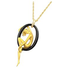 Ultra Rare Carrera y Carrera Nude Sensual Sculptural 18k Yellow Gold Onyx and Diamond Necklace from the Manuel Carrera Private Collection
