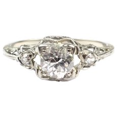Delicate 1910's Edwardian .61 ctw Diamond Engagement Ring 14k White Gold