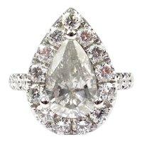 Impressive 3.62 ctw Pear Diamond Halo Engagement Ring 14k White Gold 143