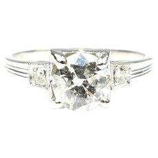 Art Deco .97 ctw European Round Diamond Platinum Engagement Ring