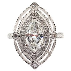 Art Deco Inspired 1.45 ctw Marquise GIA Certified Diamond  Halo Engagement Ring White Gold 143
