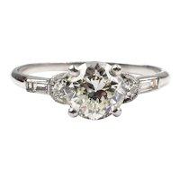 Art Deco 1.36 ctw GIA Certified Diamond Engagement Ring Platinum