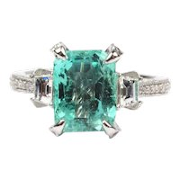 Natural GIA Certified 2.68 Carat Columbian Emerald with 0.85 ctw Diamond 14k White Gold Ring