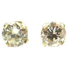 Diamond .89 ctw Round Brilliant Stud Earrings 14k Yellow Gold
