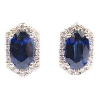 Sapphire & Diamond 1.67 ctw Halo Stud Earrings 14k White Gold
