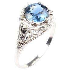 Art Deco Natural Corn Flower Ceylon Blue 1.39 carat Sapphire Ring 14k White Gold, Circa 1920's GIA Certified