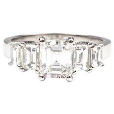 GIA Certified 1.70 ctw Emerald Diamond Anniversary Engagement Ring 14k White Gold 143