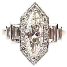 Art Deco Inspired 1.70 ctw Marquise & Baguette Diamond Engagement Ring 14k Rose Gold 143